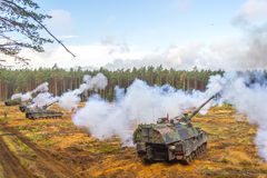 German self-propelled howitzer on battlefield Royalty Free Stock Photos