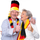 German senior sport fans stock image