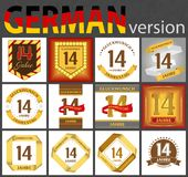 German set of number 14 templates. German set of number fourteen years 14 years celebration design. Anniversary number template elements for your birthday party royalty free illustration