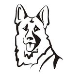 German shepard. Vector illustration, portrait sketch in black lines vector illustration