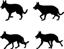 German shepard. Silhouettes - vector illustration Royalty Free Stock Photos