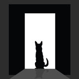 German shepard at the door silhouette Royalty Free Stock Images