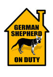 German Shepard Sign. German Shepard on duty Royalty Free Stock Images