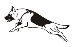 German shepherd cartoon. German shepherd in jump sticker vector illustration