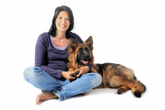 German shepherd and chinese girl Royalty Free Stock Photos