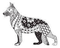 German shepherd dog head zentangle stylized, vector, illustration Stock Image