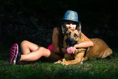 German shepherd dog with his inseparable mistress little baby gi royalty free stock photo