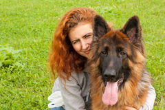 German shepherd with girl Stock Photography
