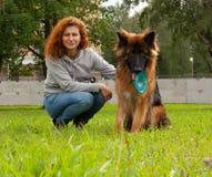 German shepherd with girl Royalty Free Stock Photo
