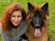 German shepherd with girl Royalty Free Stock Photography