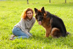 German shepherd with girl Stock Photography