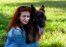 German shepherd with girl Royalty Free Stock Photo