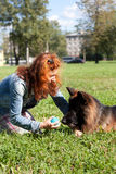 German shepherd with girl Royalty Free Stock Photos