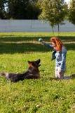 German shepherd with girl Stock Photo