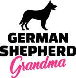 German Shepherd Grandma pink. German Shepherd Grandma silhouette pink word vector illustration