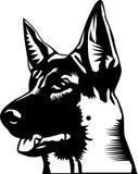 German shepherd head. Stylized black and white illustration of a german shepherd head Stock Image