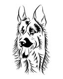 German shepherd line art, silhouette, tribal. Freehand vector il. Lustration. Print for POD sites and coloring books Royalty Free Stock Photography