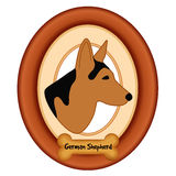 German Shepherd Portrait, Wood Frame, Dog Bone Treat Stock Images