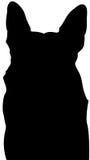 German Shepherd silhouette. German shepherd dog silhouette on white background illustration Stock Photo