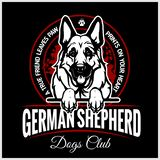 German Shepherd - vector illustration for t-shirt, logo and template badges. In monochrome style royalty free illustration
