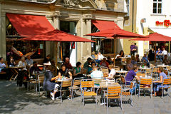 German sidewalk café stock photography