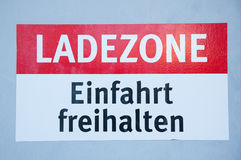 German sign Loading zone Stock Photography