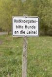 German sign: waldkindergarten Royalty Free Stock Photo