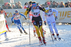 German Skier Herrmann in Milan Race in the City Stock Images