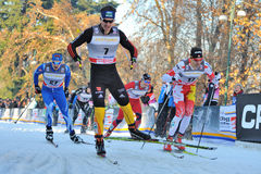 German Skier Wenzl in Milan Race in the City Stock Photo
