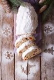 German slices Stollen Christmas cake vertical top view Royalty Free Stock Photography