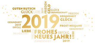 German slogan `frohes neues Jahr` happy new year on white Background stock images