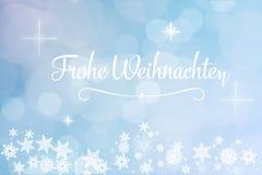 German slogan. `Frohe Weihnachten` Merry Christmas on winter card Stock Photography