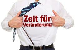 German slogan. 'Zeit für Veraenderung' (Time for change) on a shirt of a business man Stock Photos