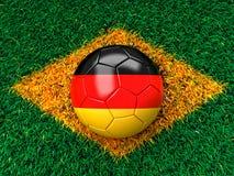 German soccer ball. On grass stock illustration
