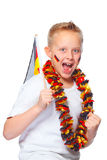 German soccer fan cheering Stock Image