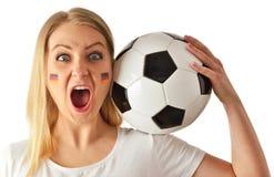 German soccer fan cheers football team. Royalty Free Stock Photo