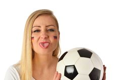 German soccer fan cheers football team. Stock Images