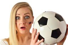 German soccer fan cheers football team. Stock Image