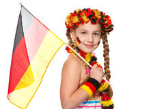German soccer fan with flag on white Stock Images
