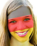 German soccer fan. Girl with german colors in the face Stock Photos
