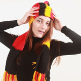 German soccer fan  in the national colors. Stock Photography