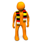 German soccer fan with scarf. 3d illustration of German or Belgian soccer or football fan with scarf around neck, white background Stock Photo