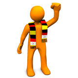 German soccer fan with scarf. 3d illustration of celebrating soccer or football fan with German or Belgium scarf, white background Stock Images