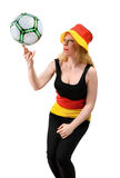 German soccer fan on white background Royalty Free Stock Photo