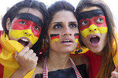 German soccer fans concerned about team performance. Stock Photo