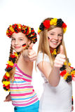 German soccer fans with thumbs up Royalty Free Stock Images