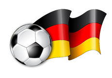 German Soccer Flag Illustration. Illustration of a German flag with the soccer ball Royalty Free Stock Photos