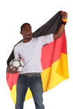 German soccer supporter. A german soccer supporter cheering. All on white background Stock Photography