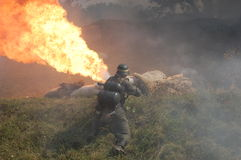 German soldier with flame-thrower stock images