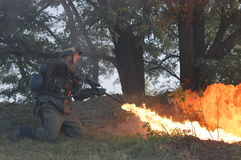 German soldier with flame-thrower stock photo